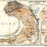 San Sebastian map France public domain royalty free