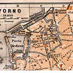 Livorno center map, royalty free, public domain