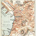 Trieste map, royalty free, public domain